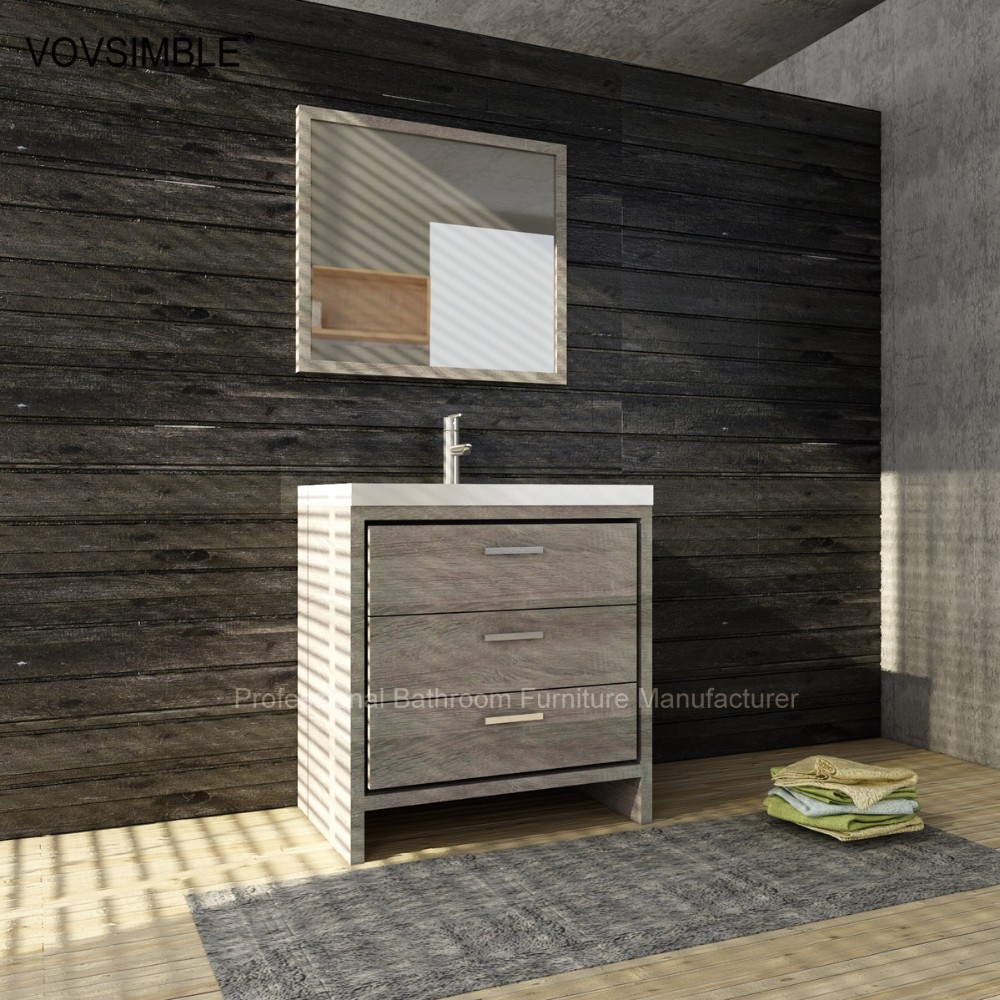 Floor standing wood bathroom furniture fashion bathroom for Floor standing mirrored bathroom cabinet