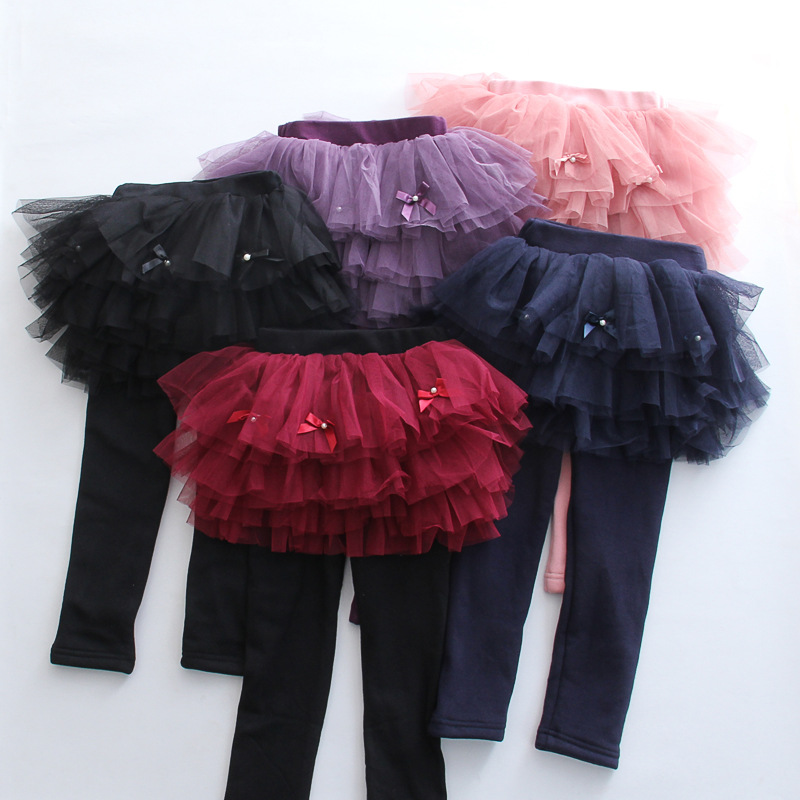 S65389A Kids Tutu Flower Ruffle Skirt Infant Candy Color Fleece Leggings