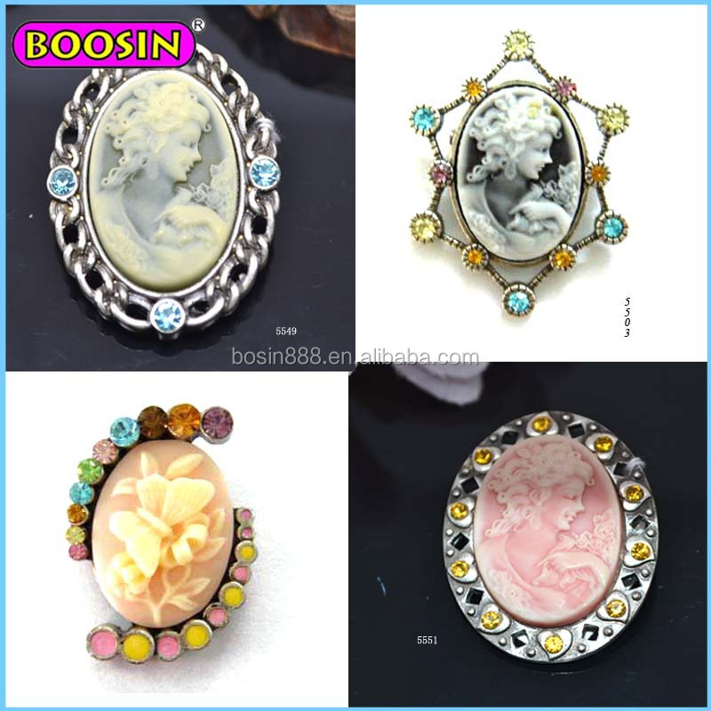 Factory wholesale retro magnetic brooch, cameo brooch