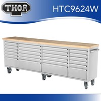 96 in. 24-Drawer Stainless Steel Mobile Workbench with Solid Wood Top