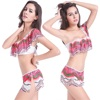 Sexy school girl red wave string bikini transparent digital print swimwear