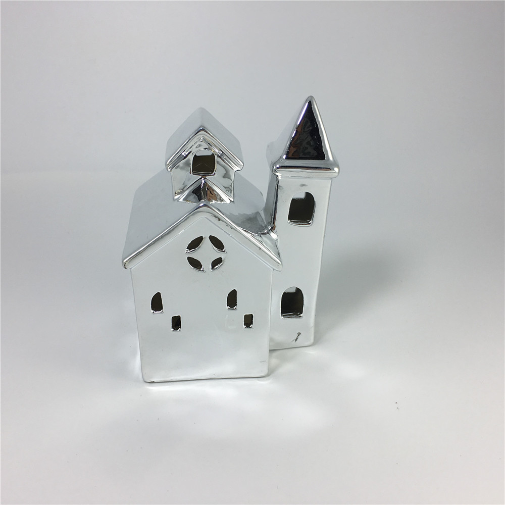 Ceramic Christmas House candle holder for decoration