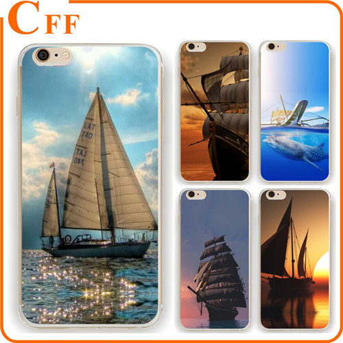 Vehicles Sailboat Silhouette Sunset on the Ocean Navy Sail Sailing Custom made TPU Phone Case For Apple iPhone For Samsung Galax
