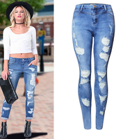 2017 spring new design high waisted distressed skinny jeans women