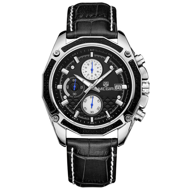 MEGIR 2015 quartz male watches Genuine Leather watches racing men Students game Run Chronograph Watch