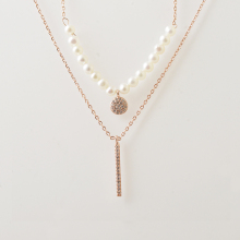 nature fresh pearl double chain 925 silver necklace fine quality jewelry wholesale