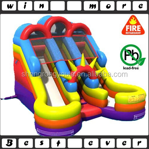 colorful inflatable junior double lane splash water slide for kids or adult