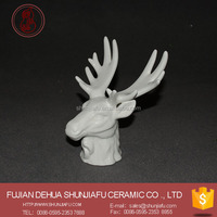 Ceramic Deer Head White Jewelry Disply Holder Figurine