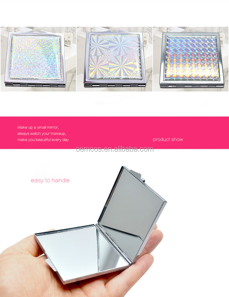 Wholesale Christmas gift cosmetic tools square shape small compact mirror with cheap price