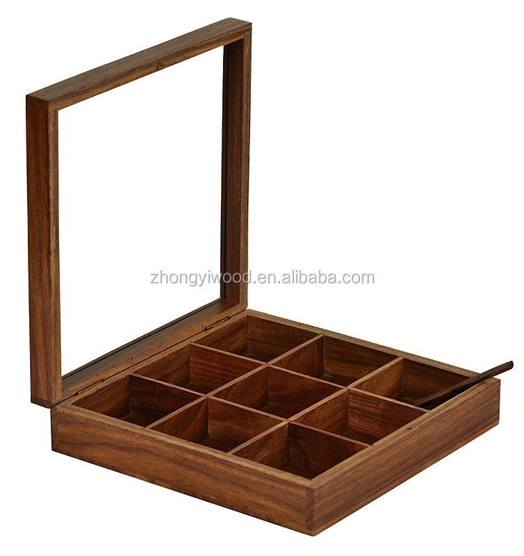 2016 wholesale handmade new design cheap wooden spice box for kitchen storage
