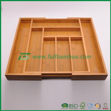 Fuboo bamboo wooden extending cutlery tray organiser expandable drawer storage box
