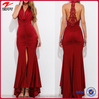 Halter neckline silky feel maxi dress/long evening dress 2016