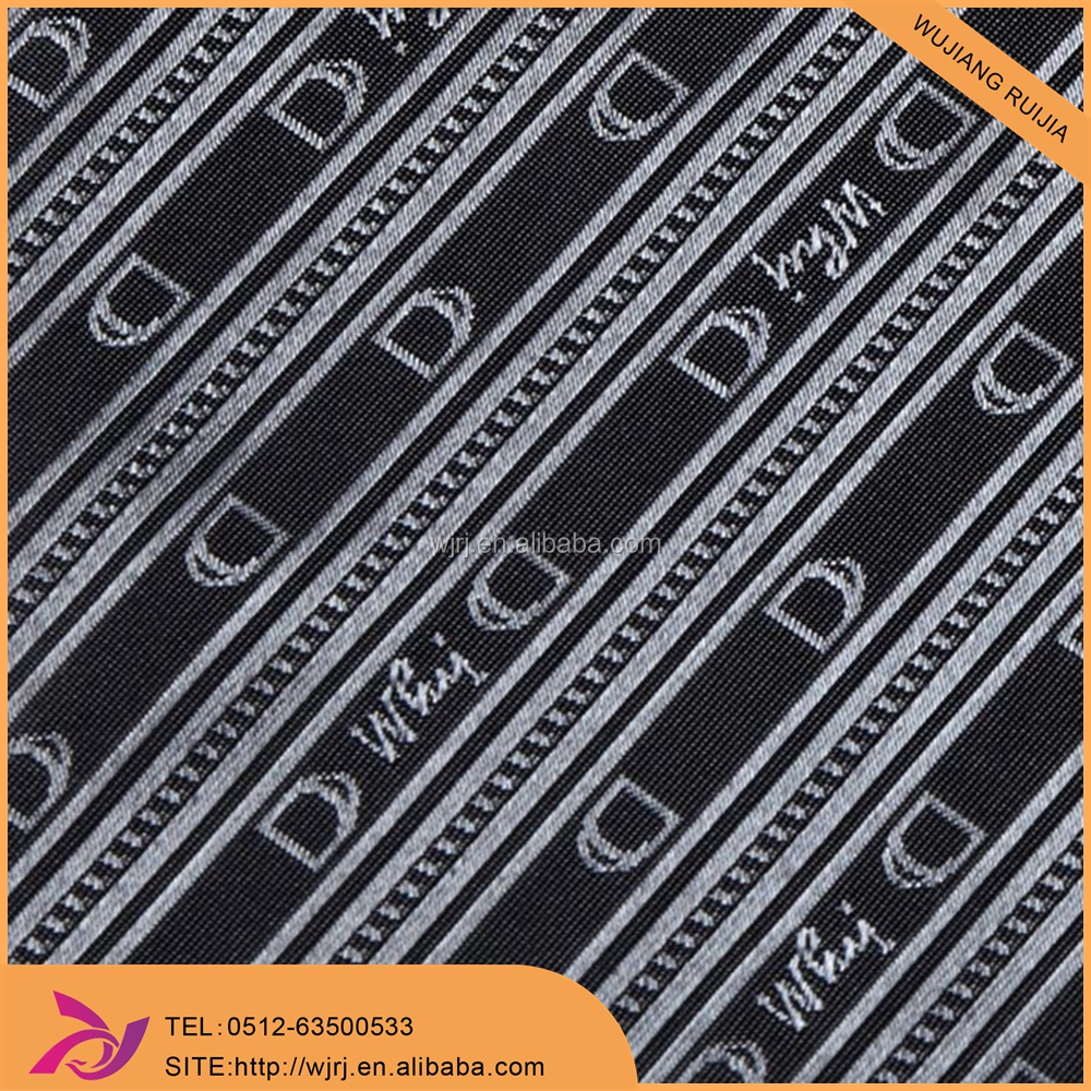 customize logo pu coating 100% polyester jacquard lining for handbag