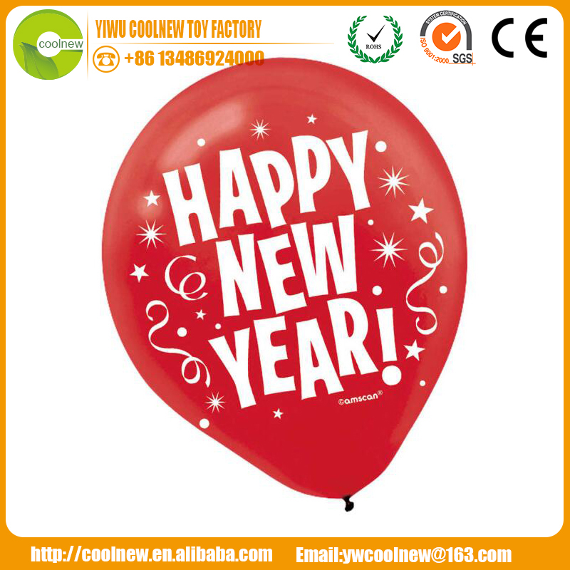 Happy new year printed balloon round latex ballon party baloon merry christmas and a happy new year wishes