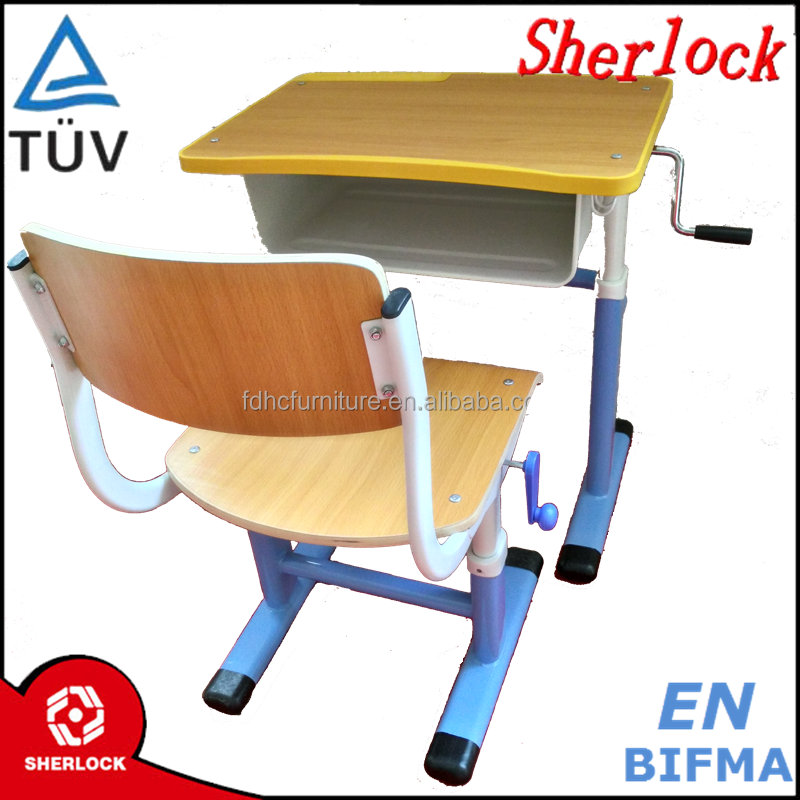 ISO9001 Metal frame student desk and chair set