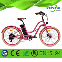 250w brushless motorized e bicycle beach cruiser e bike