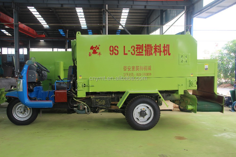 diesel power feed spreader for dairy farm