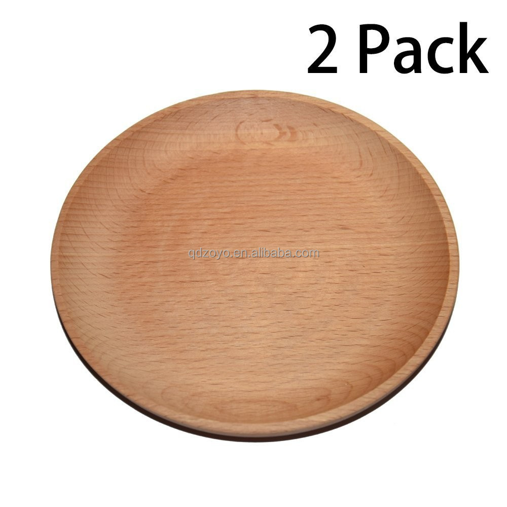 Beech Wood Round Plates Unfinished Hardwood Plate 16cm Diameter