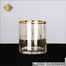 Custom made OEM wholesale handmade personalized 11oz 330ml gold rimed glass cup with gold rim