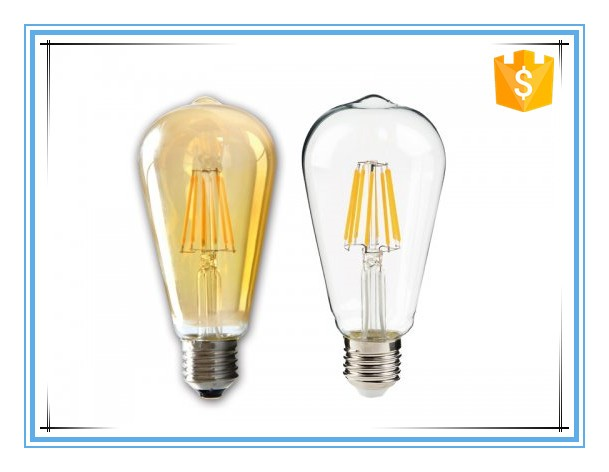 LED edison bulb E27 ST38 long filament lamp with golden glass