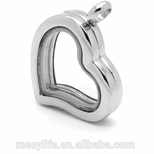 MECYLIFE Stainless Steel Floating Locket Heart Shaped Photo Frame Pendant