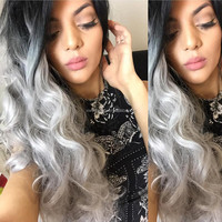 Ombre Silver Grey Synthetic Lace Front Wig Glueless Two Tone Body Wave Wig Natural Black/Grey Heat Resistant Hair Wigs For Women