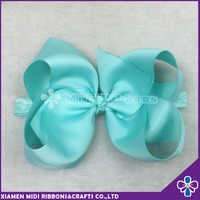 cheap wholesale 5.5 inch plain solid large grosgrain hair bow with elastic band girls elastic headband