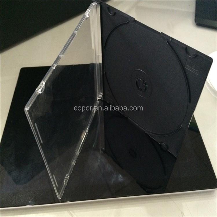 5mm single /double tray transparent top and black bottom dvd cases wholesale