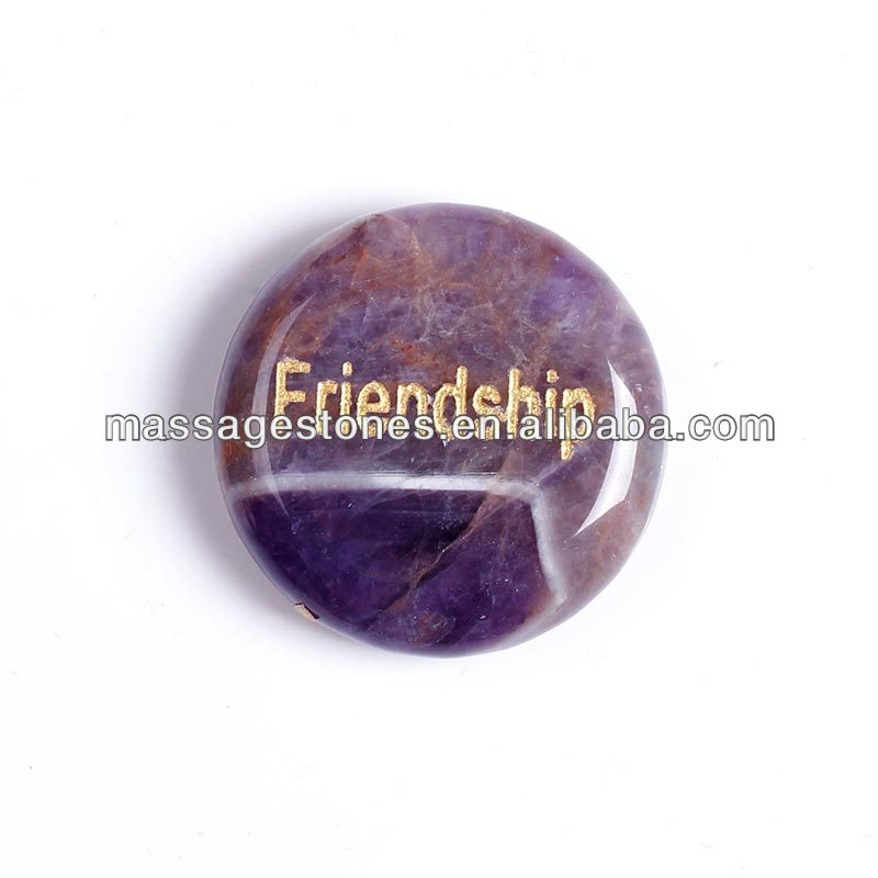Engraved Amethyst words Stone Crystal Quartz Chakra Set/ Round engraved wishing letter amethyst