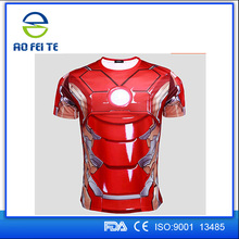 2015 New Sports Digital Printing Casual OEM Fit Men's Short Sleeve Custom Superhero Tight T Shirt