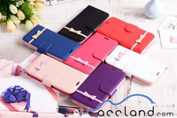 Cute Bow Flip Wallet Case Stand Detachable Magnetic Leather Back Cover for Samsung Galaxy S4