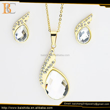 custom made jewelry shiny leaf shape stainless steel set for party