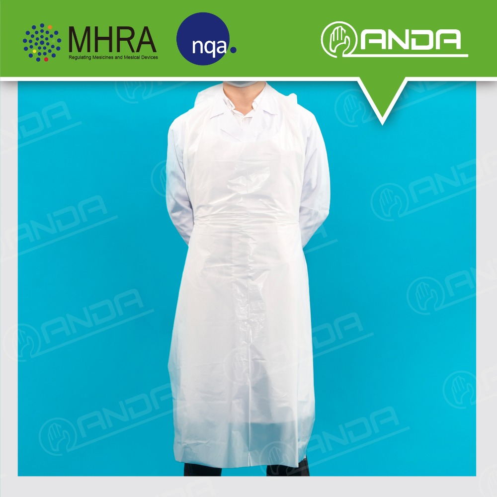 ADP001 Customized Logo thick white pe disposable plastic apron