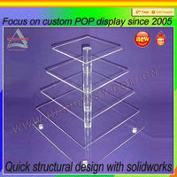 Clear free standing acrylic cake display stand with lights