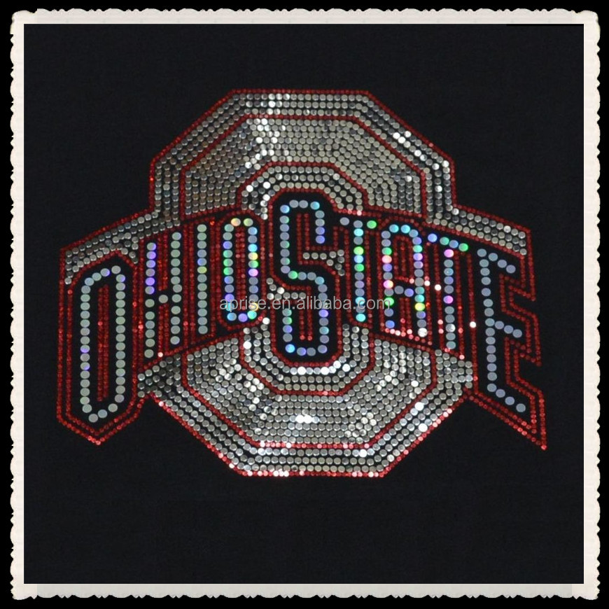 Aprise - Ohio State bling Sequins No rhinestones heat transfer Iron On Hot fix applique