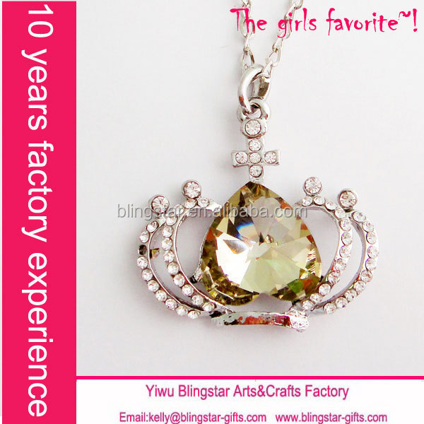 hot selling fashion necklace diamond alloy crown pendant cheap necklace for 1 dollor shop