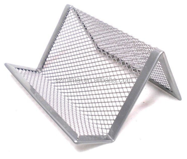 Metal Silver Wire Mesh Business Card Display Holder Desk Stand