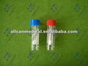 disposable 30ml fecal container with spoon with red screw cap