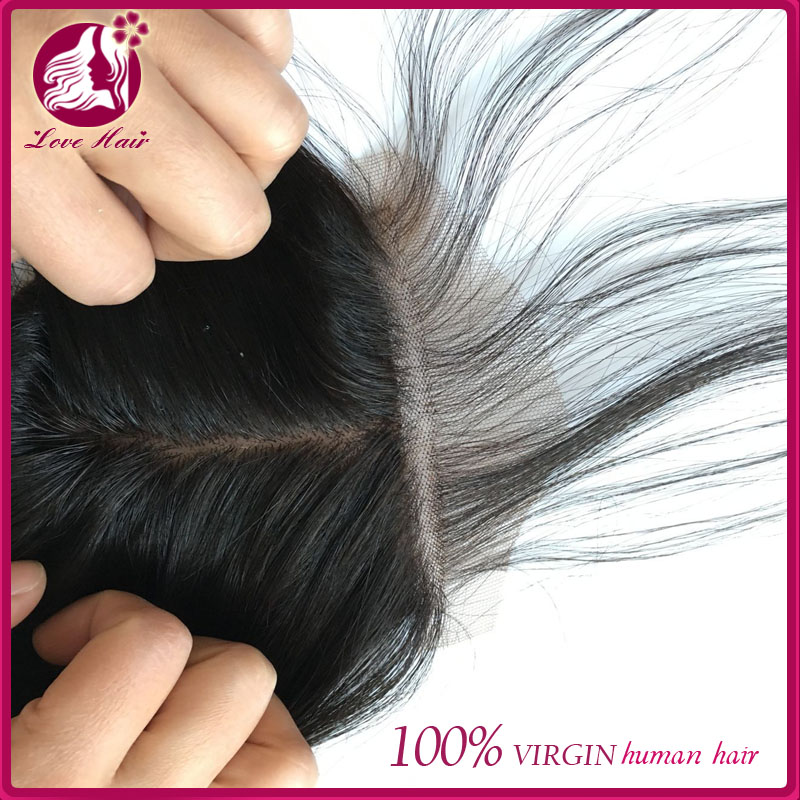 Cheap virgin Brazilian straight 5x5 silk base lace closure bleached knots human hair 5x5lace closure with baby hair