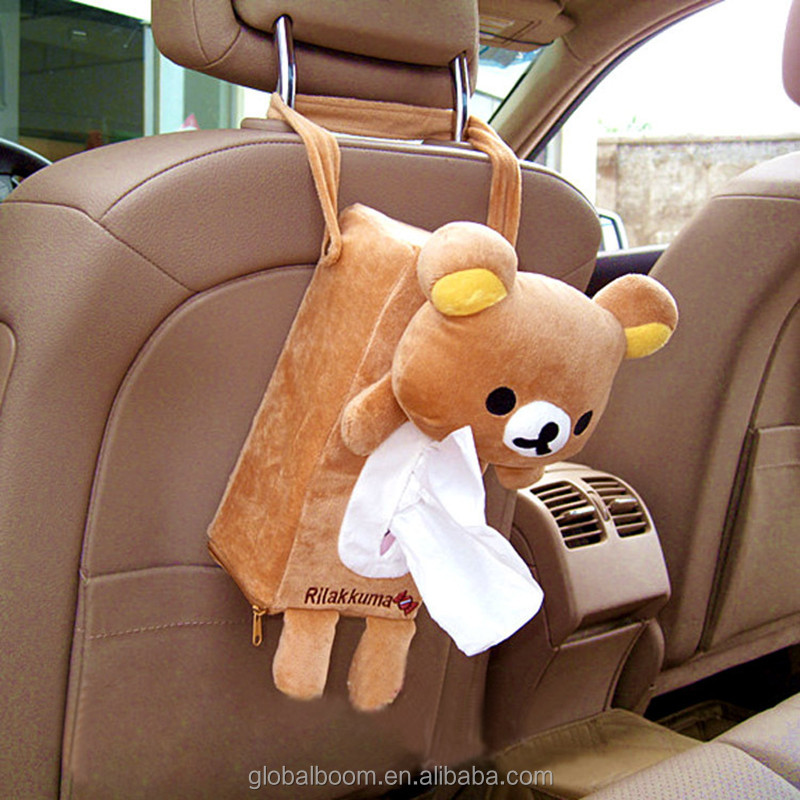 New Design Cute Cartoon Plush Bear Toy Zipper Car Tissue Box Cover