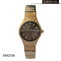 Womens thin fashion quartz stainless steel brown metal strap wrist watch