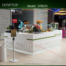 Modern square lighting juice bar design with custom logo white juice bar counter for sale