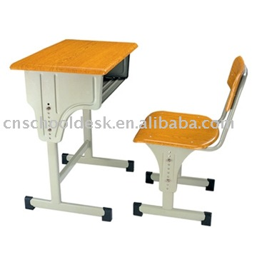Adjustable single desk and chair/school furniture