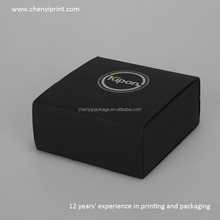 Classical black book shaped camera lens box in matt lamination and hot stamping with sponge and silk ribbon