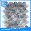 Gray Marble Mosaic Tile Peach Shape Mosaic Tile For Sink Board Deco