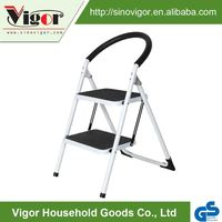 High Quality Metal Used Black 2 Step Iron,Steel Ladder With Handrail