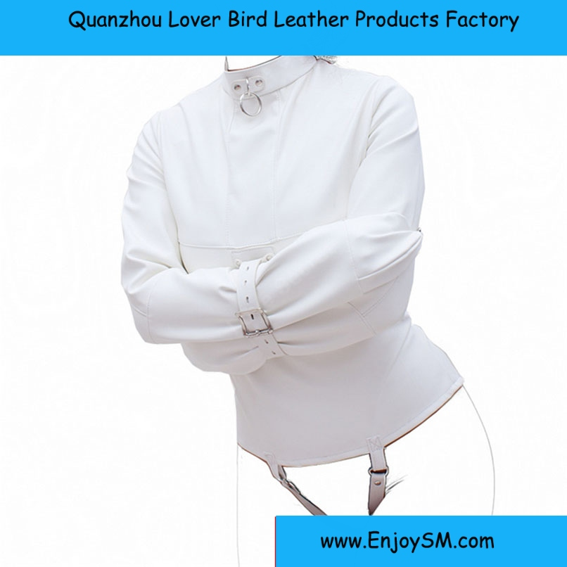 Women Straitjacket Faux Leather Strict Bondage Jacket Fetish Costume Sex Training Adult Sex Toy sex Body Harness Fetish Costume