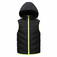 new 2014 autumn/winter men sports vests padded hooded detachable cap brand casual men padded waistcoat tops