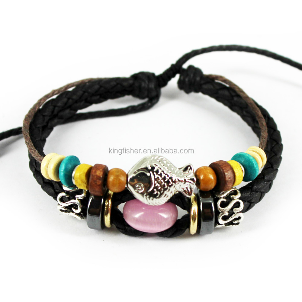 Multiple wood beads decor cotton cord women real leather bracelet wholesale