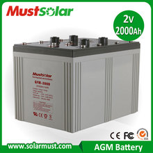 <MUST SOLAR> Factory Wholesale 2V 2000AH Long Life AGM VRLA Battery, Valve Regulated Lead Acid Battery
